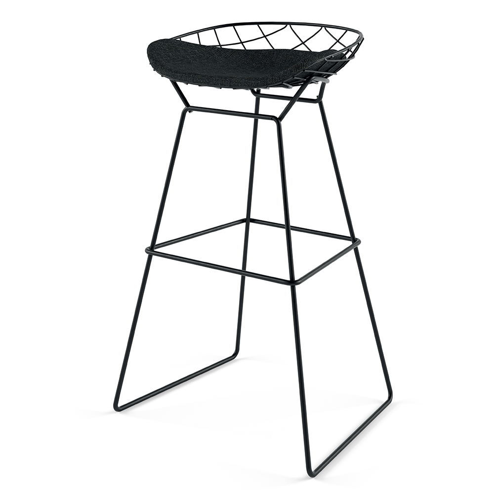 Kobi Stool Patrick Norguet Alias italian upholstered black stool