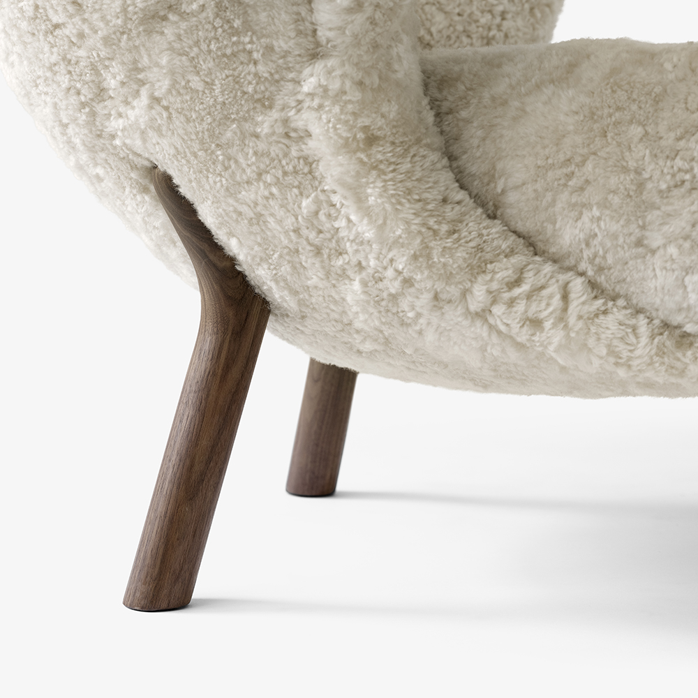 little petra viggo boesen andtradition danish designer upholstered sheepskin lounge chair modern designer contemporary chairs seating lounge furniture design