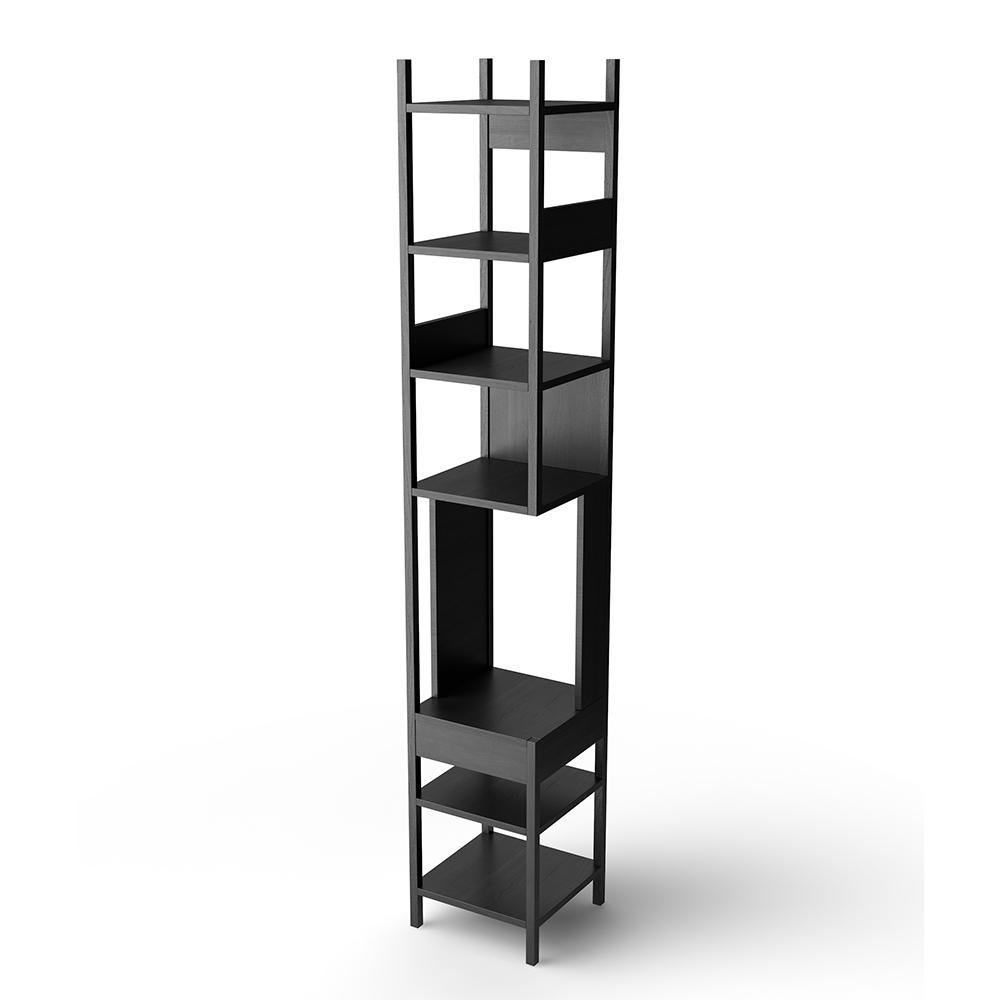 LUNGAGOLO achille catiglioni karakter black solid wood shelving display unit