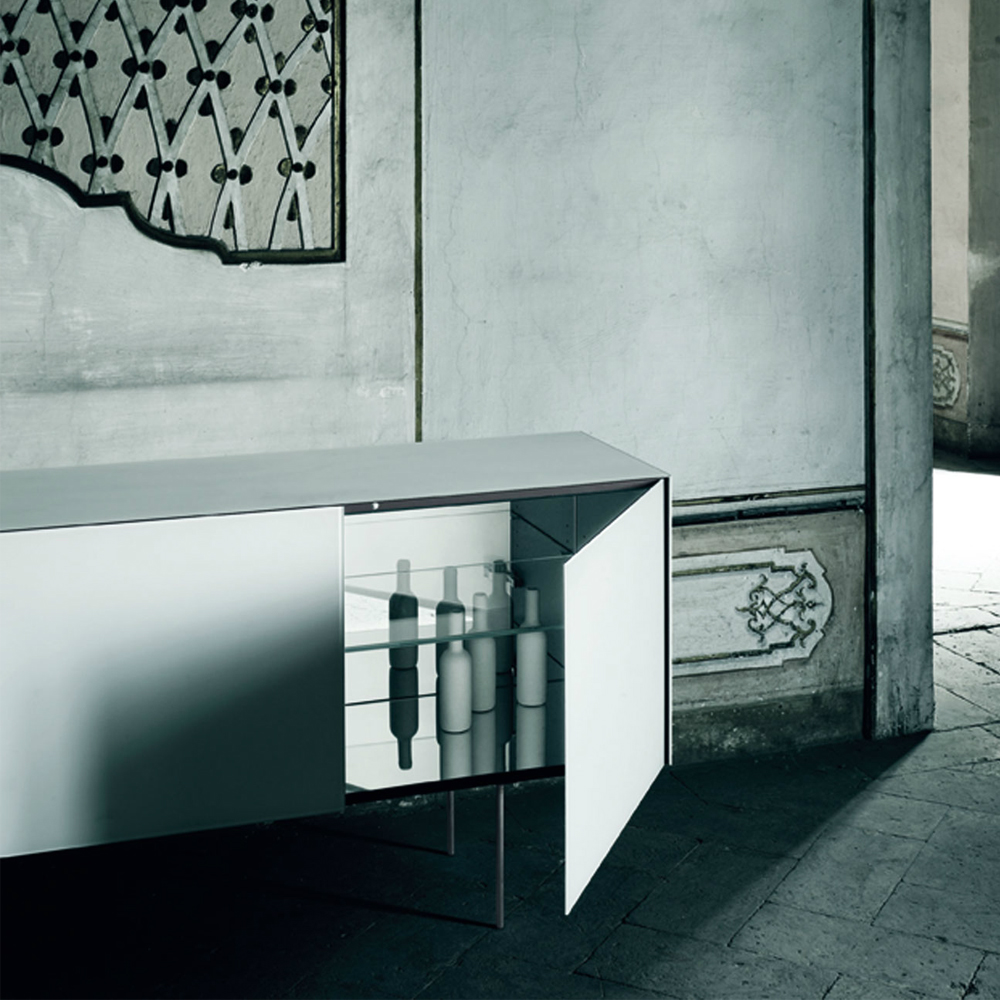 Magic Box Piero Lissoni Glas Italia silver mirror glass cabinet