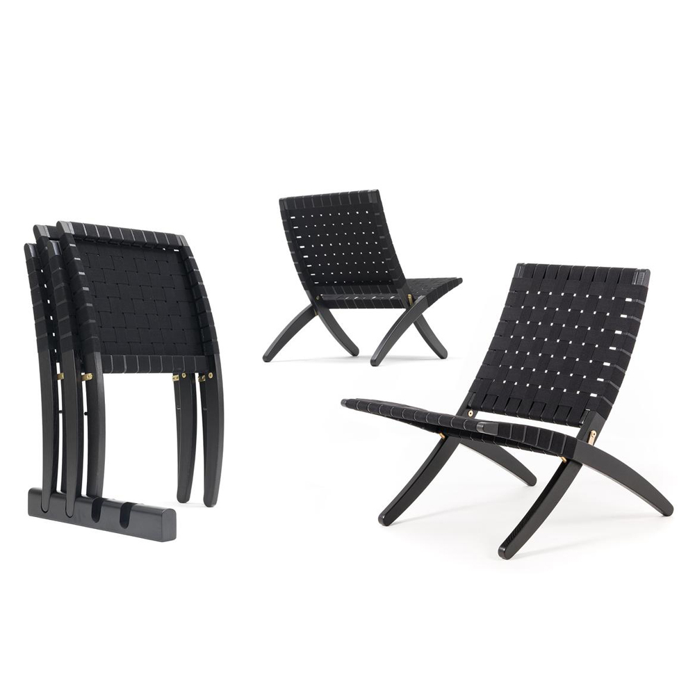 MG501 Cuba Chair Carl Hansen and Son solid oak black cotton weave webbing folded stacked