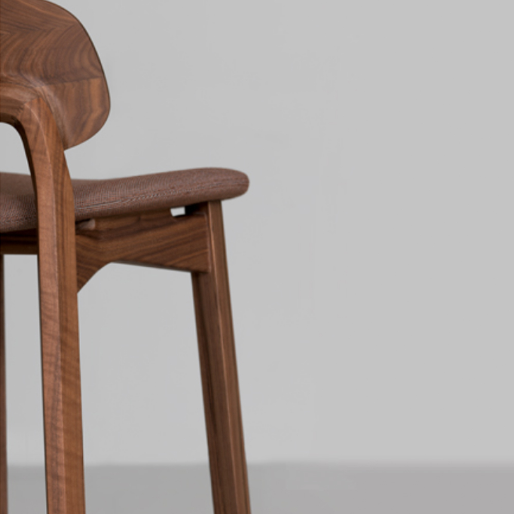 nonoto bar stool laufer keichel zeitraum suite ny walnut upholstered seat detail