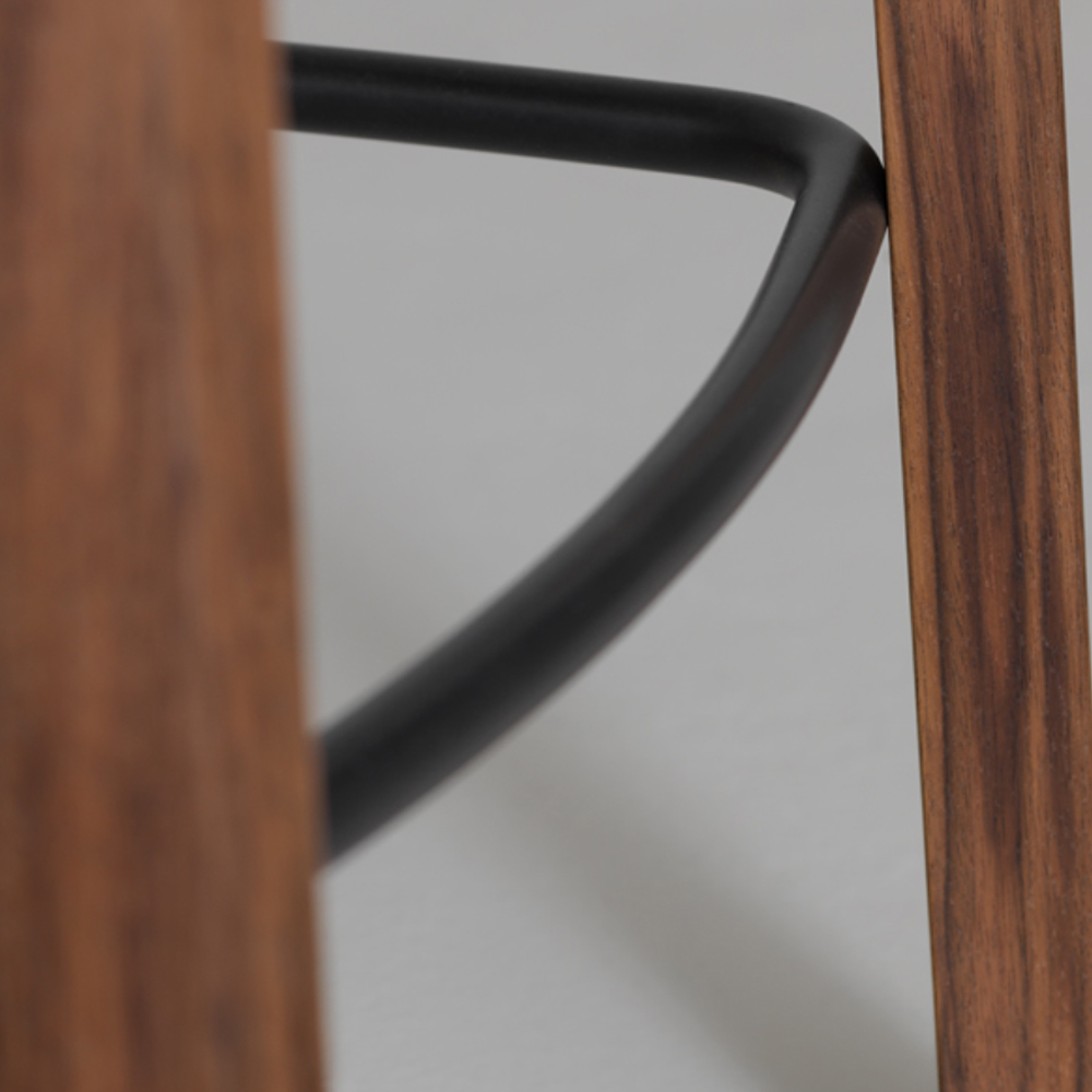 nonoto bar stool laufer keichel zeitraum suite ny walnut foot detail