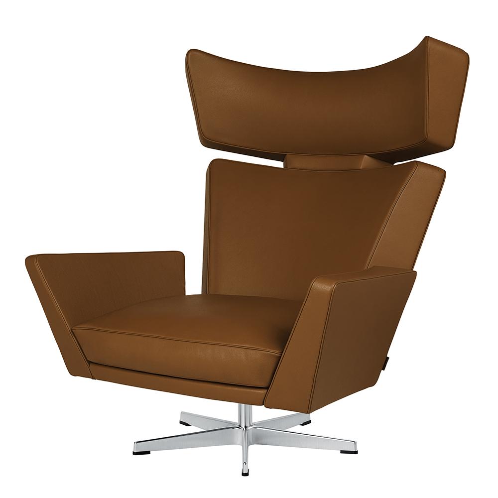 oksen arne jacobsen fritz hansen modern danish upholstered leather lounge chair