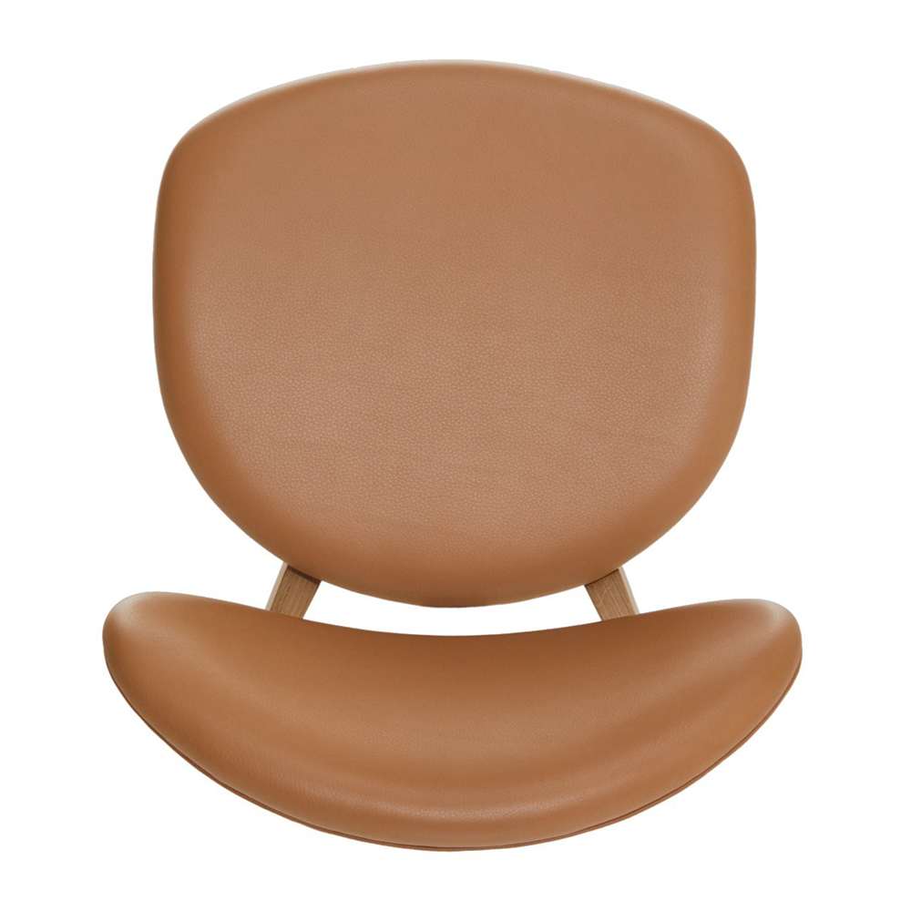 ovoid dining chair Craig Bassam bassamfellows contemporary designer rounded leather wood upholstered mid-century style chair