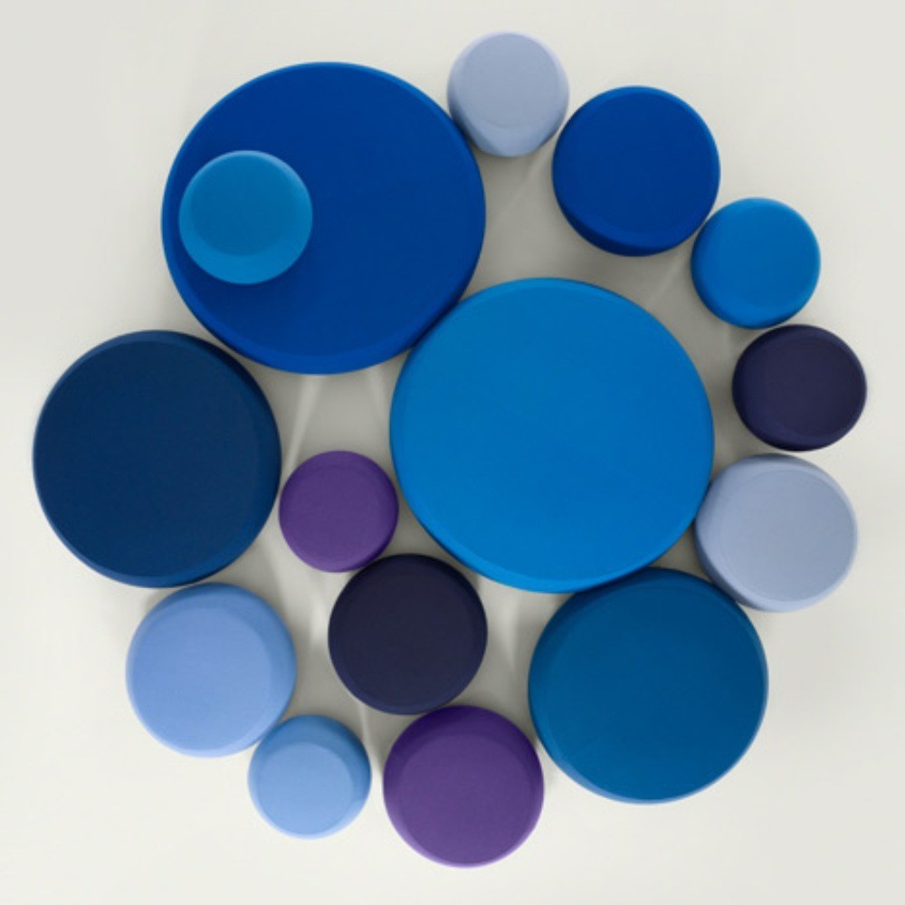 Pix pouf Ichiro Iwasaki Arper upholstered round ottoman stool blue navy purple indigo