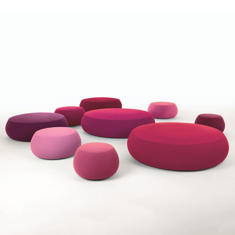 Pix pouf Ichiro Iwasaki Arper upholstered round ottoman stool pink blush marsala red