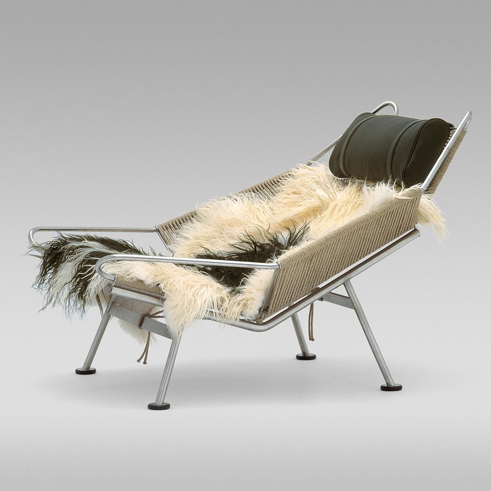 pp møbler pp225 hans j wegner danish designer lounge chair sheepskin cover stainless steel