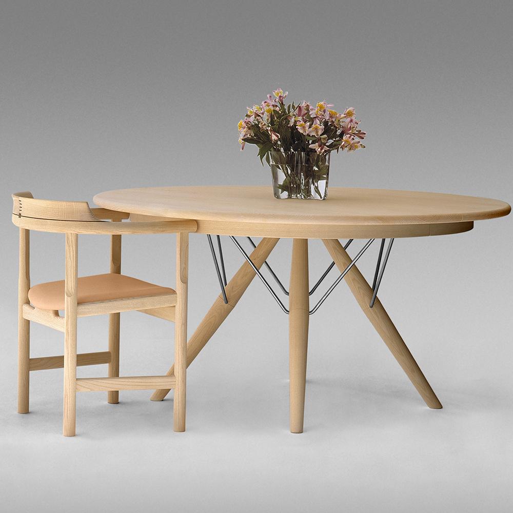 pp75 PP Møbler hans j wegner solid wood danish round dining table with extension leaf