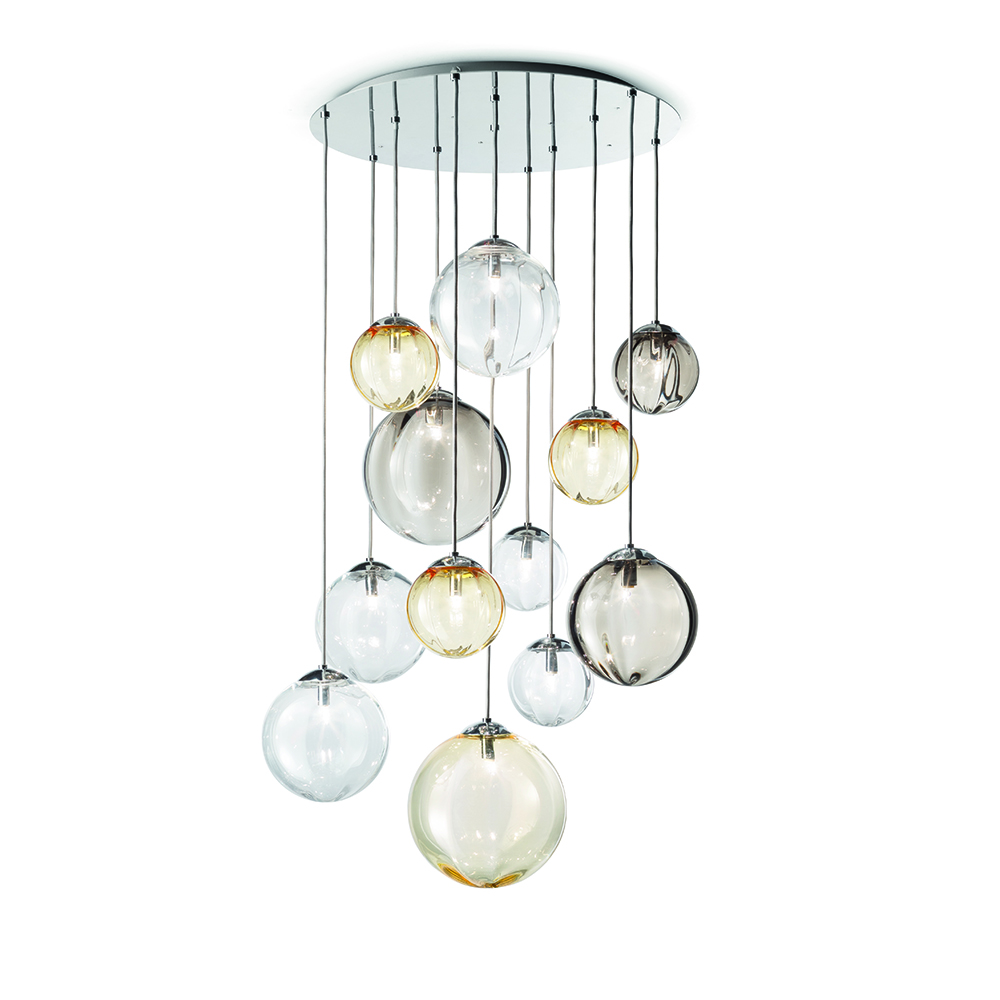 puppet vistosi lighting chandelier romani saccani architetti associati blown glass diffuser stainless steel adjustable arms italy shop suite ny