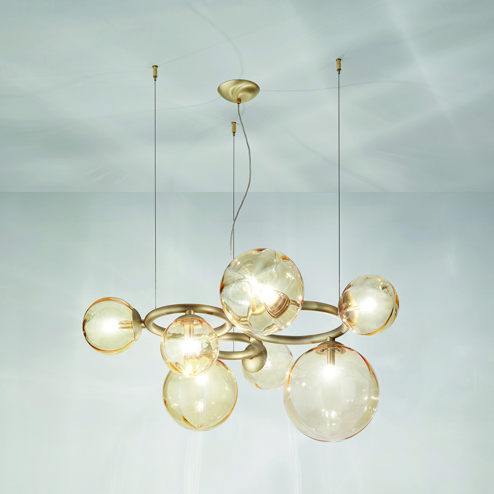 puppet ring vistosi lighting chandelier romani saccani architetti associati blown glass diffuser stainless steel adjustable arms italy shop suite ny