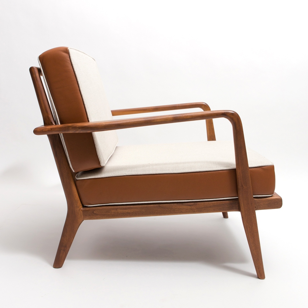 rail back armchair lounge mel smilow enduring modern classics american design furniture solid wood walnut natural finish leather shop suite ny