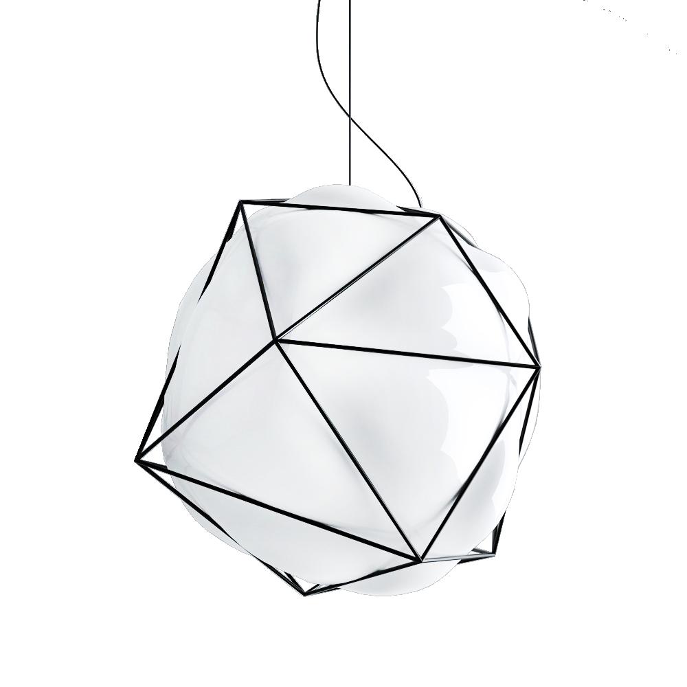semai alberto saggia valerio sommella vistosi lighting pendant lamp suspension mouth blown glass ceiling glossy white dark inox cage italy shop suite ny