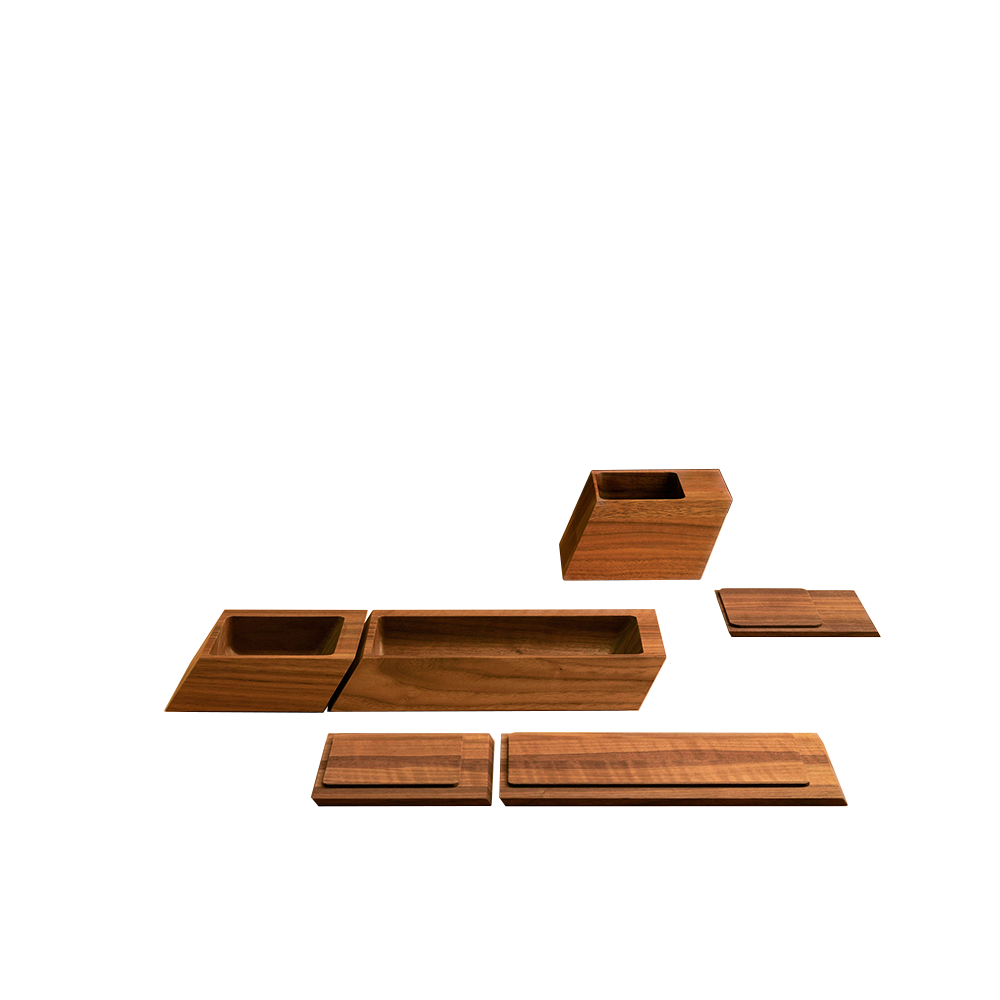 Sharp Box Collection of desk or bath accessories design by Craig Bassam and Scott Fellows