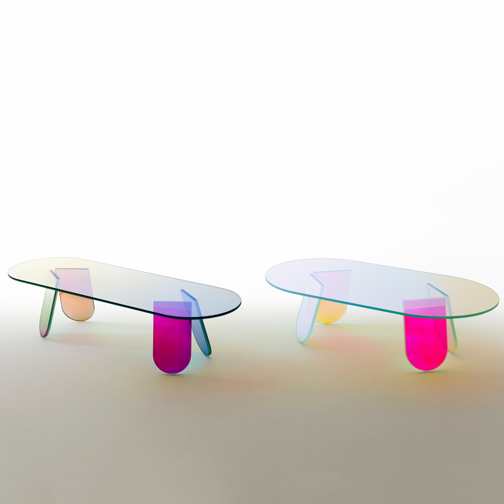 shimmer glass coffee table patricia urquiola glas italia occasional iridescent colored