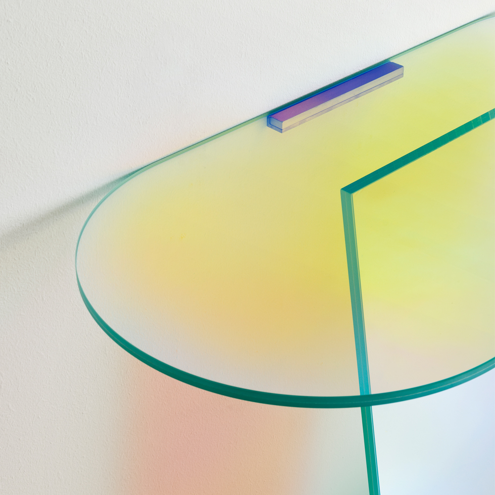 Shimmer glass console table patricia urquiola glas italia occasional iridescent colored