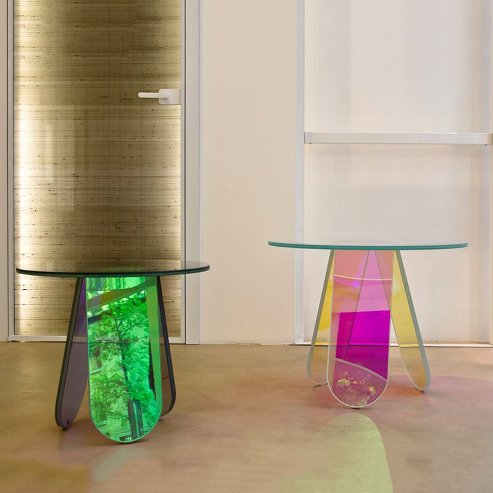 Patricia Urquiola Shimmer Glas Italia iridescent side table