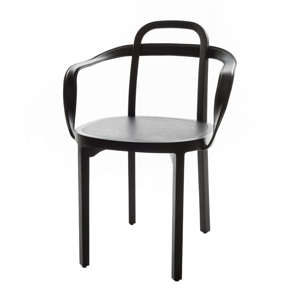 siro armchair black leather woodnotes suite ny