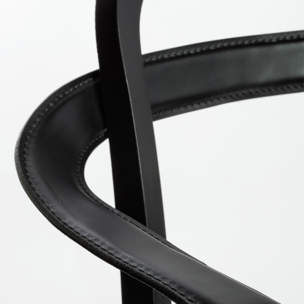 siro detail armchair black leather woodnotes suite ny