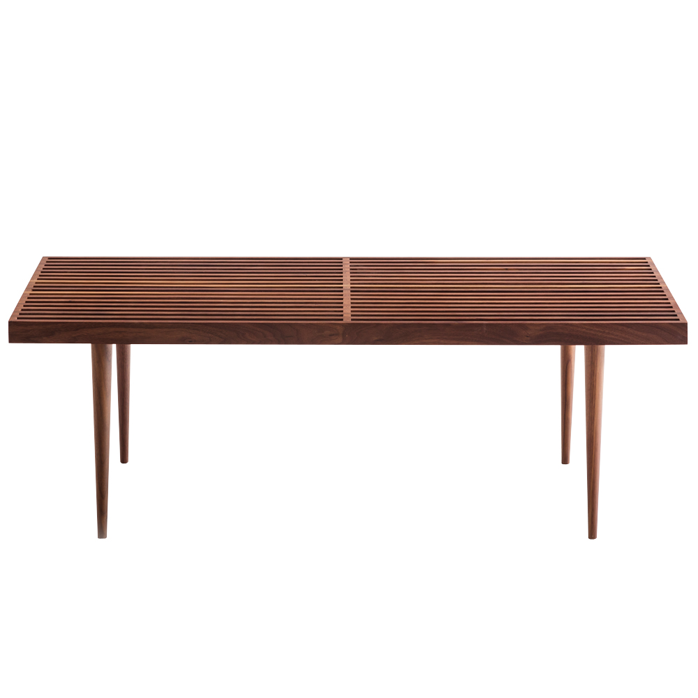 slatted bench walnut mel smilow furniture suite ny side view