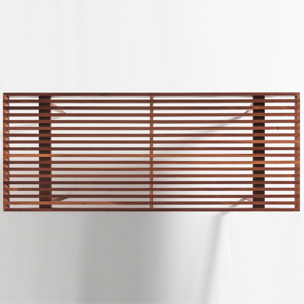 slatted bench walnut mel smilow furniture suite ny detail