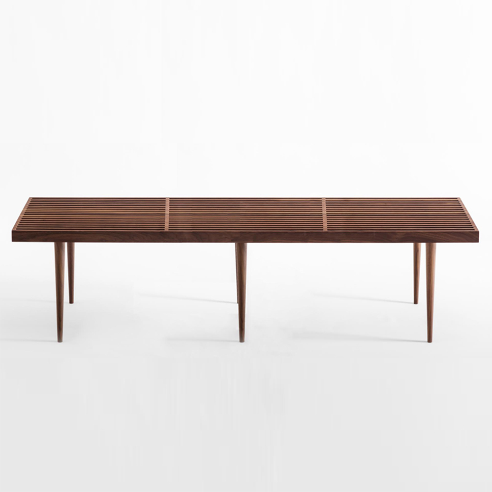 slatted bench walnut mel smilow furniture suite ny