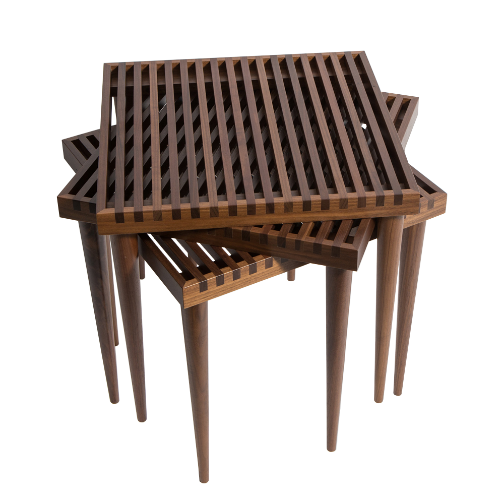 mel smilow slatted stacking table walnut stacked three suite ny