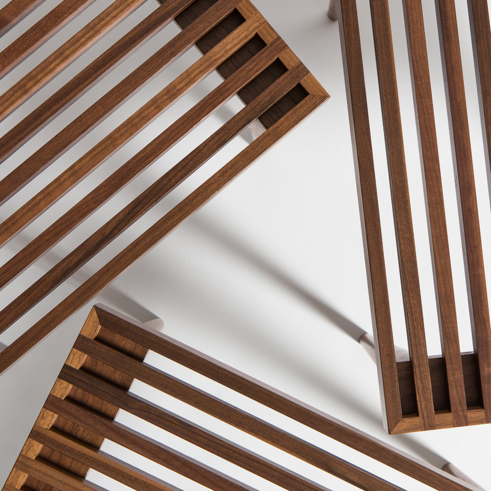 mel smilow slatted stacking table walnut detail suite ny