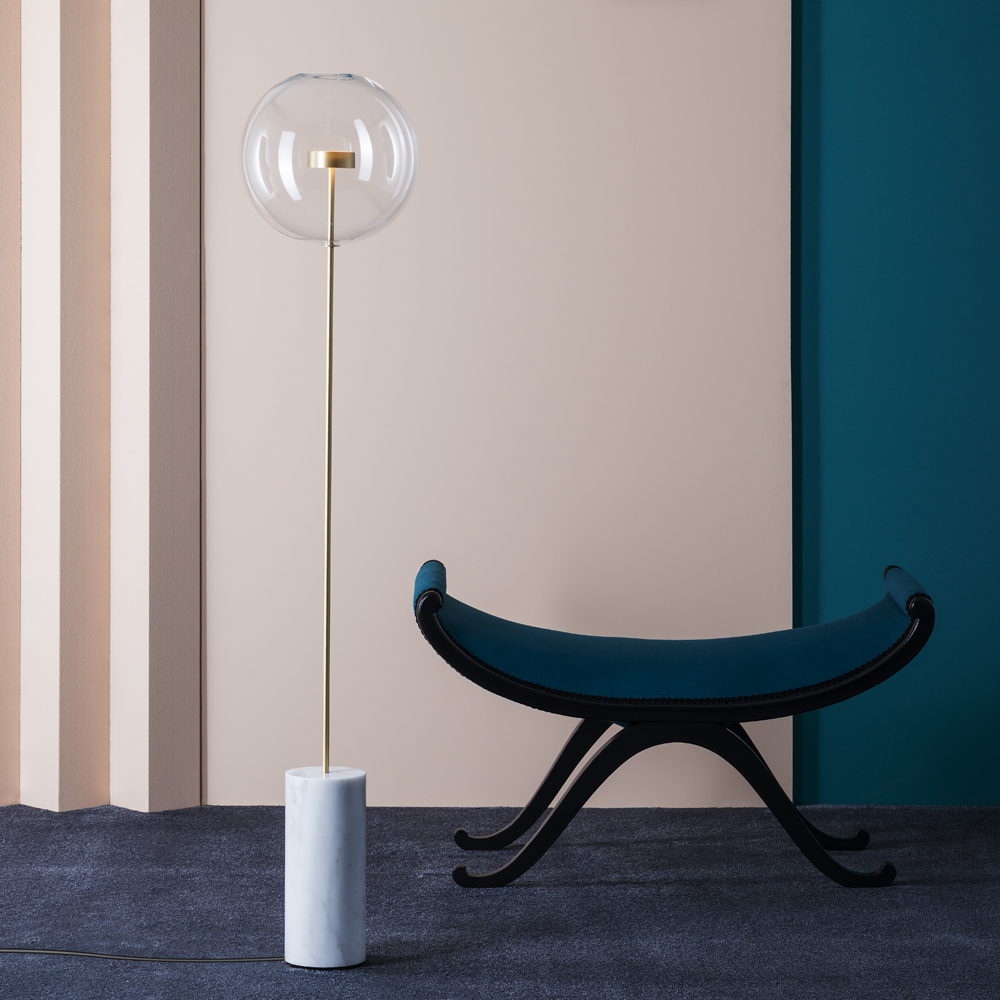 Soffio floor lamp Giopato Coombes glass bubble brass marble italian lighting