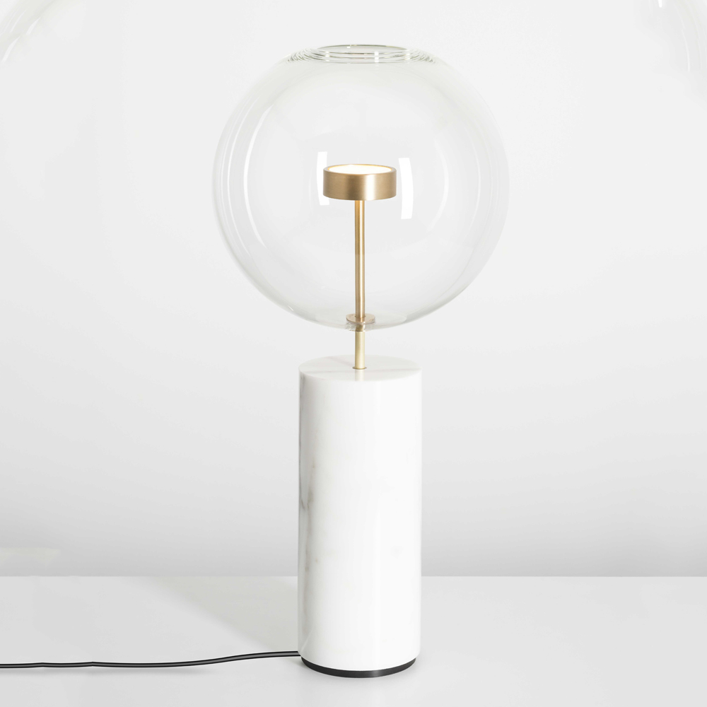 Soffio table lamp Giopato Coombes marble glass bubble brass