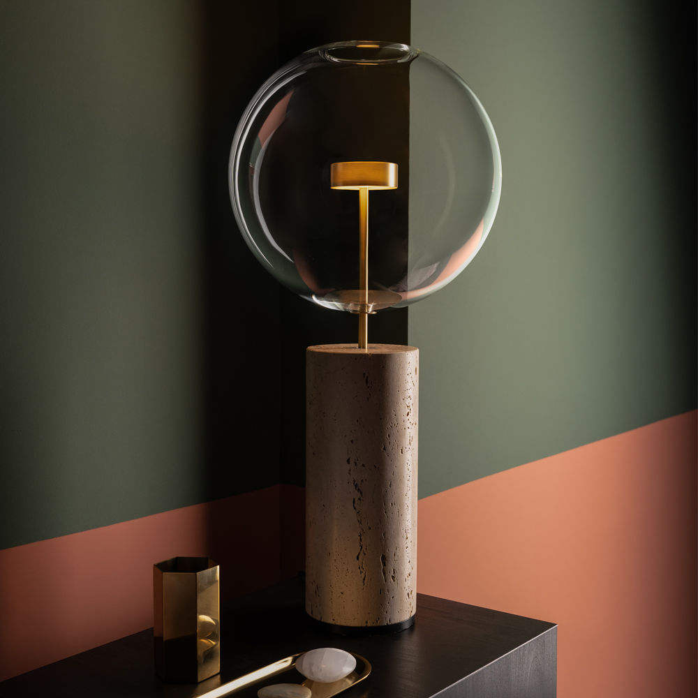 Soffio table lamp Giopato Coombes travertine glass bubble brass
