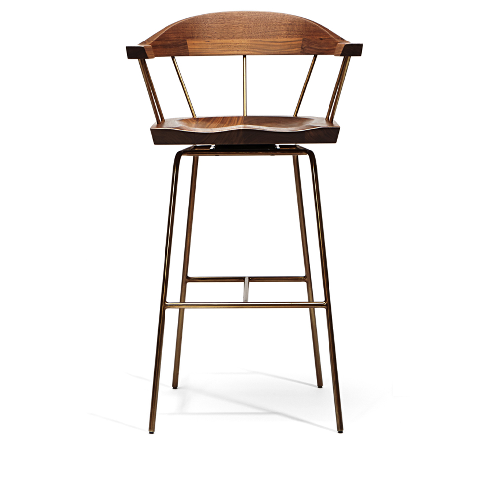 spindle chair stool bassamfellows bar counter walnut american made handcrafted brass spokes designer furniture dining seats interior design solid wood matteo mendiola back shop suite ny
