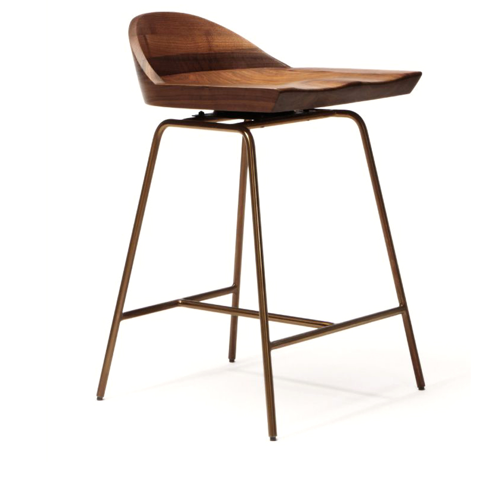spindle chair stool bassamfellows bar counter walnut american made handcrafted brass spokes designer furniture dining seats interior design solid wood cb285 low back matteo menial shop suite ny