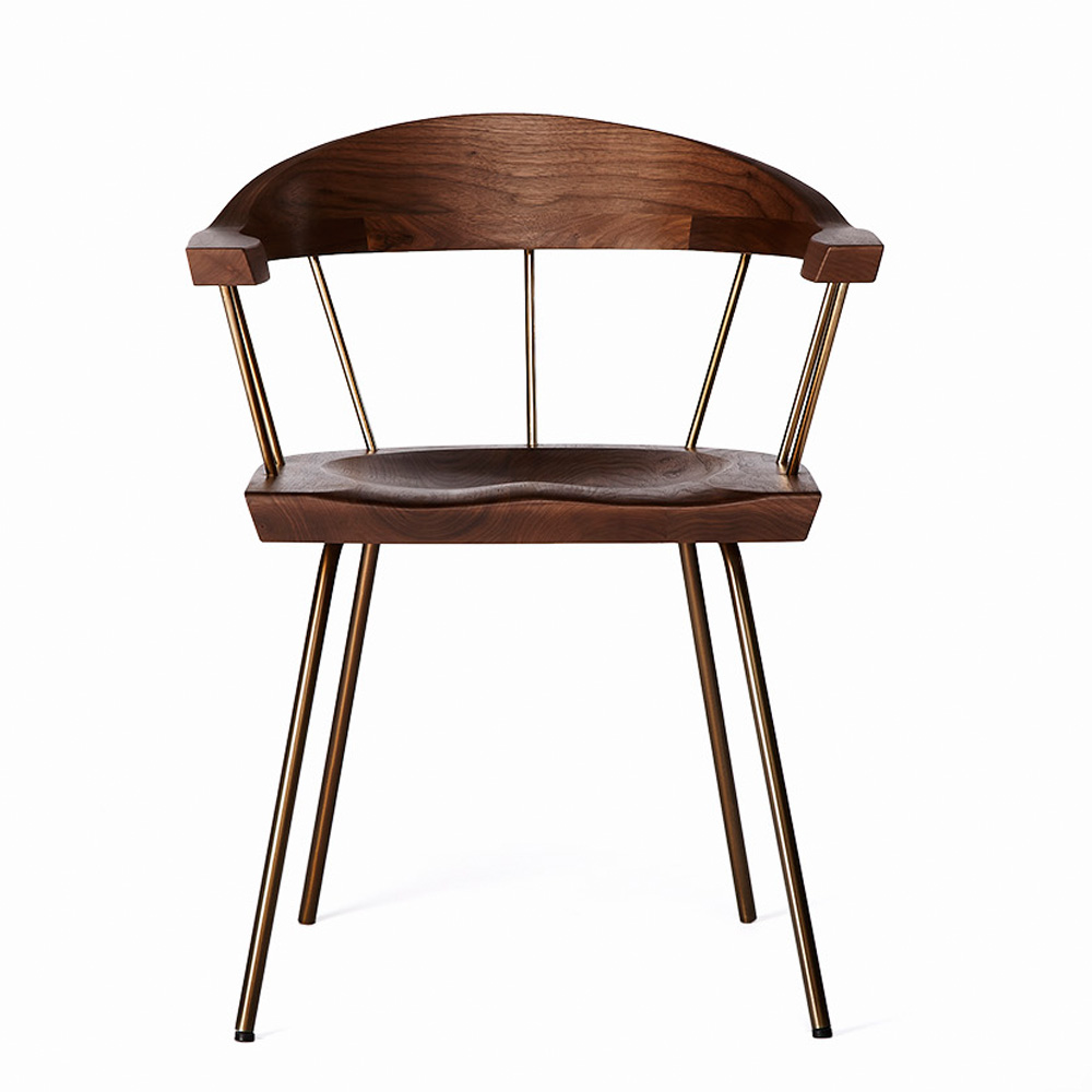 Spindle chair BassamFellows walnut modern craftsman dining seat