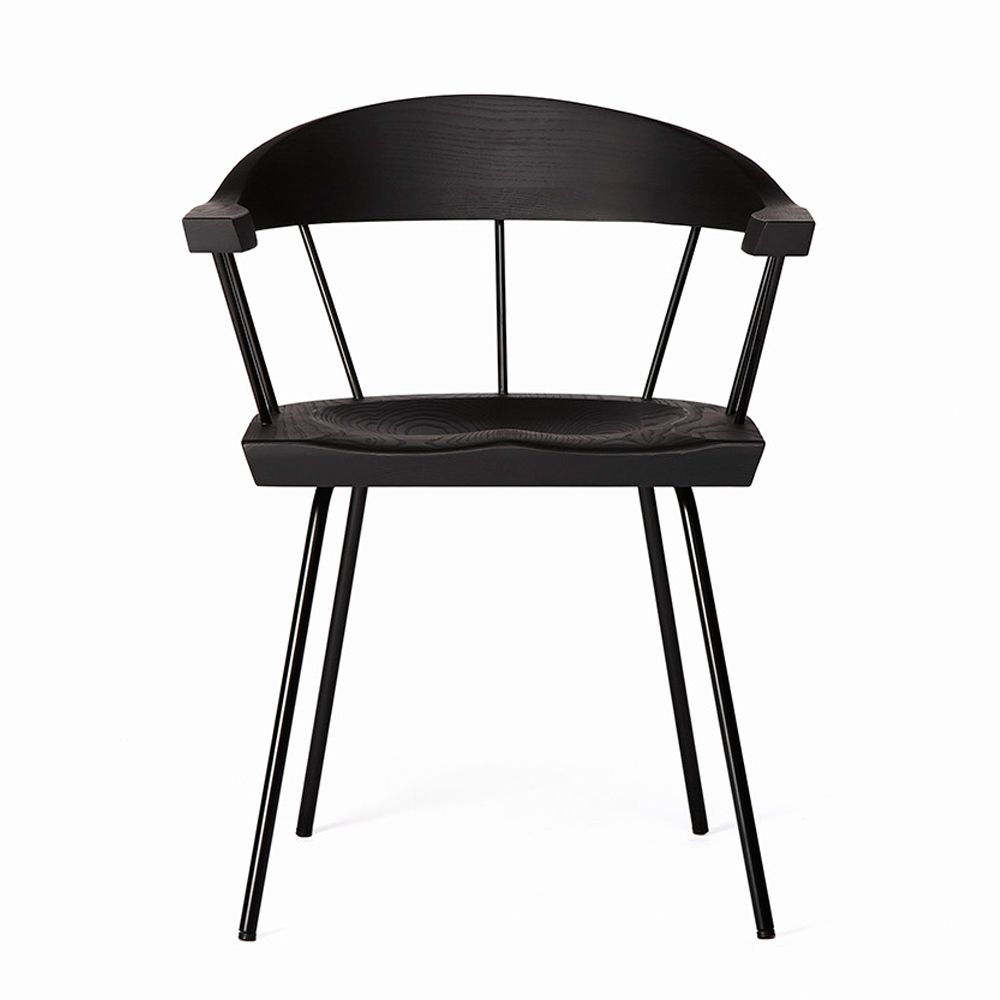 Spindle chair BassamFellows black modern craftsman dining seat