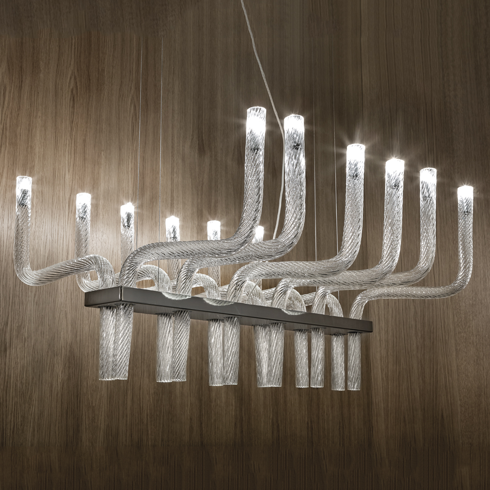 stardust francesco lucchese suspension wall lamp vistosi chandelier lighting system blown handcrafted crystal striped glass white murano rigadin black nickel metal frame italy shop suite ny