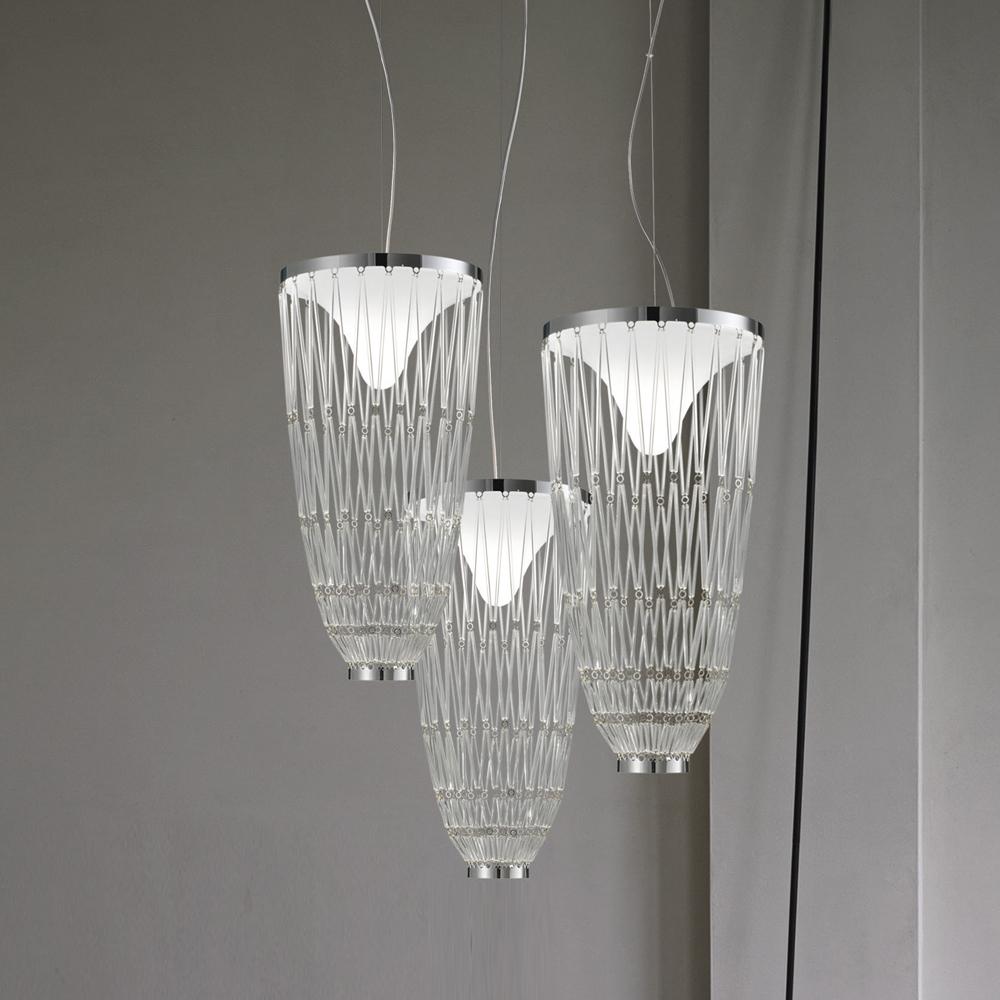 starnet suspension lighting gianni veneziano luciana di virgilio vistosi crystal metal chrome italy led source light glass