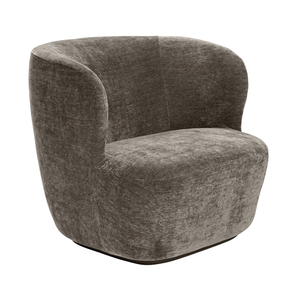 Stay lounge chair small suite ny space copenhagen gubi upholstered gray grey fabric