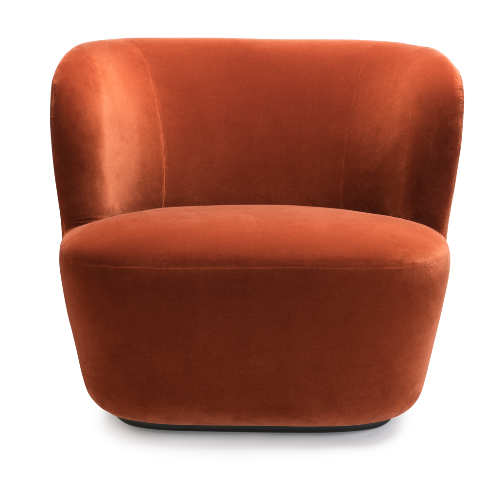 stay lounge space copenhagen suite ny gubi lounge chair oranage rust velvet icff