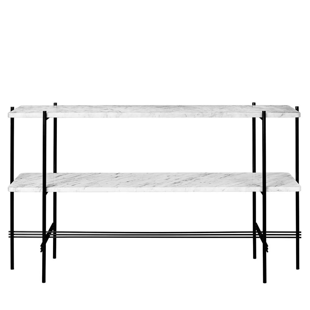 ts console table two tier white carrera marble stine gam gubi
