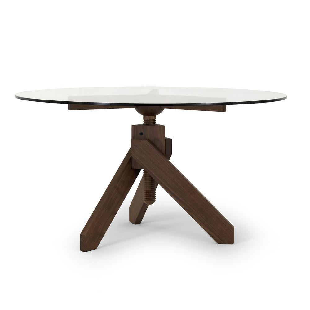 Vidun table black walnut Vico Magistretti De Padova depadova height adjustable round