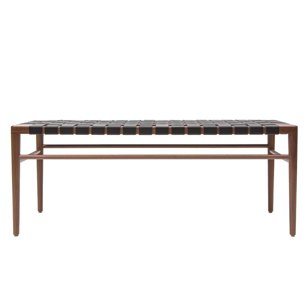 Mel Smilow WLB Woven leather bench walnut american modern suiteny