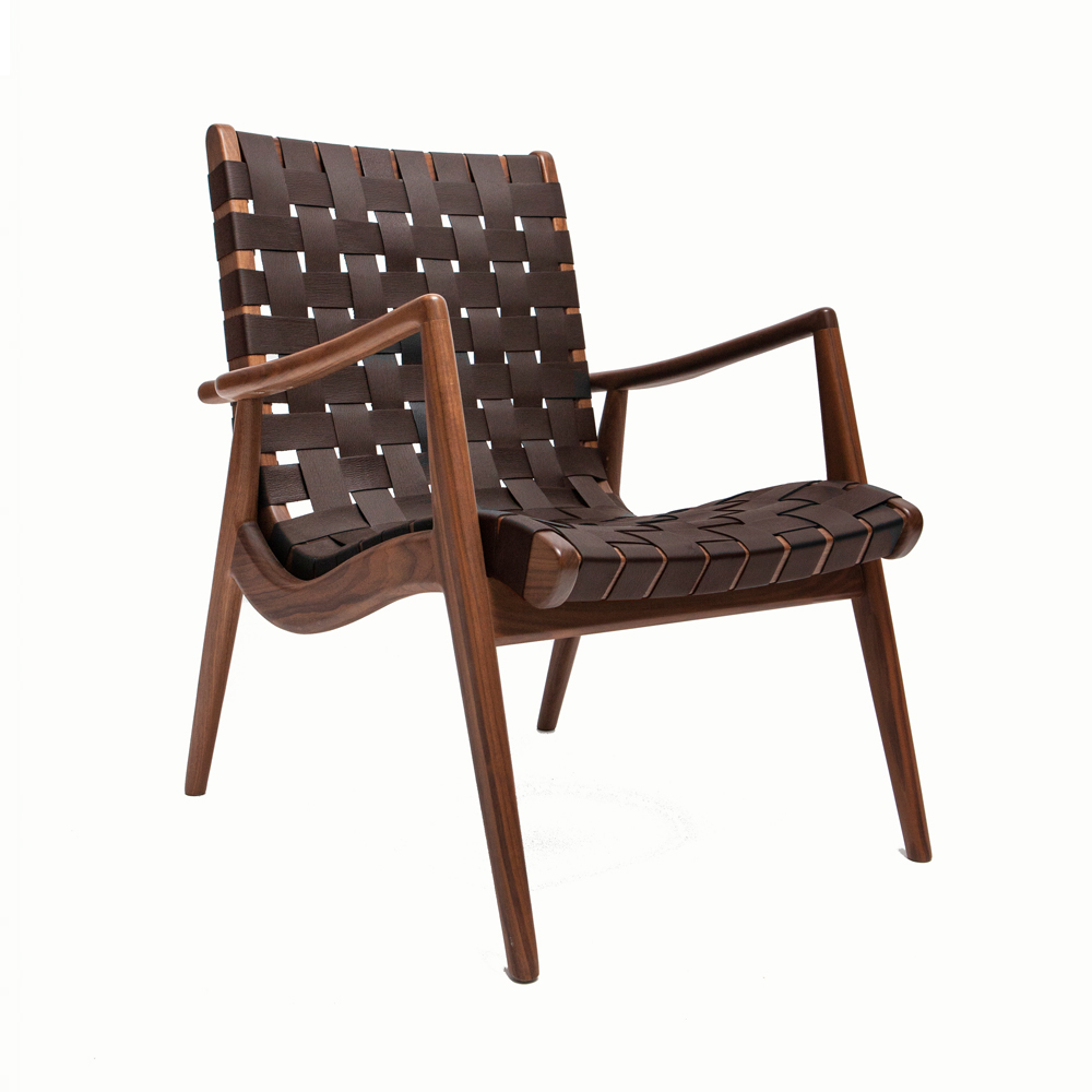 WLC woven leather armchair smilow design midcentury wood enduring modern classics america shop suite ny