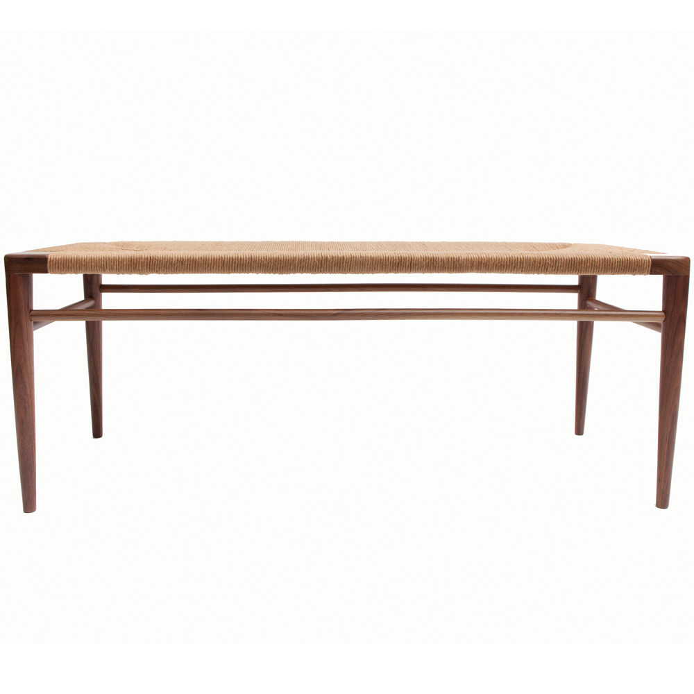 Rush Bench Mel Smilow furniture midcentury modern wood seating