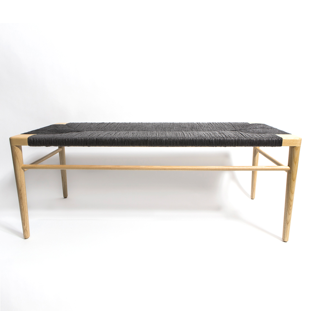 woven rush bench mel smilow american classis enduring modern wood walnut ash black handwoven midcentury american furniture shop suite ny