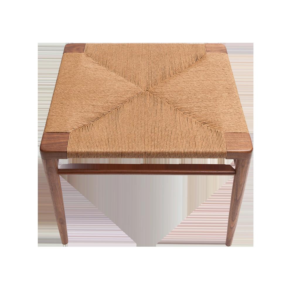 Rush Ottoman Mel Smilow Furniture midcentury modern woven wood stool