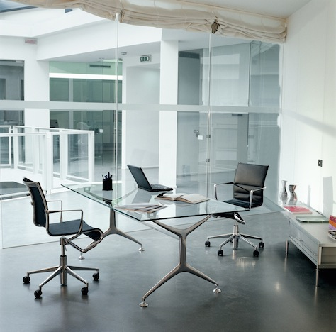 Shop SUITE NY for the Rolling Frame task chair and glass Frame Table desk by Alberto Meda as seen in this modern executive office. SUITE NY is the premier source for contemporary commercial furnishings and contract design.