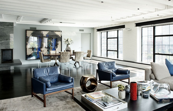 Shop SUITE NY for the CB-50 contemporary leather club chairs by BassamFellows as seen in the Laight Street Loft designed by David Howell. SUITE NY is the premier resource for contemporary furniture and modern design.