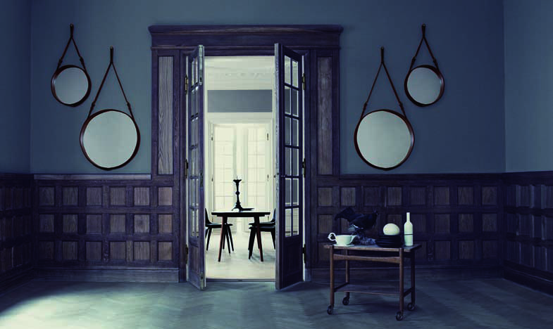 Shop SUITE NY for the Adnet mirror by Jacques Adnet for GUBI. The equestrian inspiration behind the mirror is no surprise as during the 1950s Jacques Adnet created leather covered furniture and accessories for the fashion house Hermes.