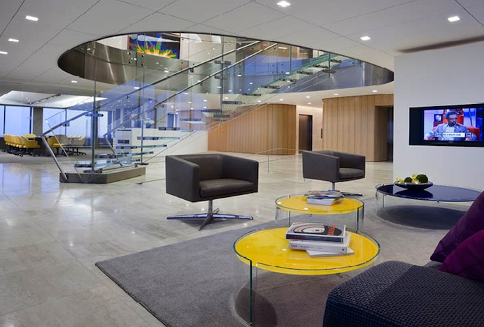 Shop SUITE NY for the Cubica swivel lounge chair & Split table Piero Lissoni as seen in the Sandridge Offices by Rogers Marvel & BAM Design. SUITE NY is the premier source for contemporary commercial furnishings and contract design.